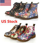 US Womens Fashion Low Heel Mid Calf Round Toe Lace Up Floral Combat Boot Shoes