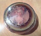 Vintage Colonial Courting Lady Vanity Glass Powder Box Metal Mirror Lid Rare