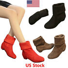 US Women Boots Mid calf Boots Shoes Round Toe Low Heels Concise Winter Shoes