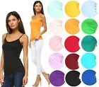 ANNA WOMENS CAMIS TANK TOP STRETCH CAMISOLE SOLID COLORS SPAGHETTI STRAP