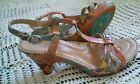 Size 7 Womens Born Crown Collection Leather Sandals Shoes Multicolor Snake EUC