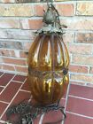 Vintage Mid Century Modern Hanging Amber Glass Lamp Ceiling Light Swag 20 Old