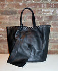 NEW Large Black Leather Tote Bag with Metal Studs and Leather Pouch by ZARA