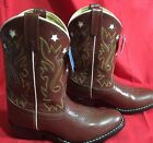 Acme Childrens Brown Cowboy Boot with Pink Inlaid Stars Size 1 D VTG 80s NWT