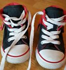 COOL CONVERSE Size 7 Infant Hi Top Red  Black Sneaker fold down collar baby