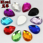 50pcs Flatback Acrylic Rhinestone TearDrop Gem Beads 13X18mm No Hole ZZ318