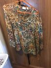 chicos blouse size 1 sheer with quarter length sleeves Browns and blue and tan