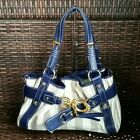 FRANCESCO BIASIA Navy Blue Creme  Tan Satchel