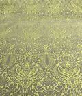 Lime Green Gray Woven UPHOLSTERY FABRIC HOME DECOR Damask Design 3 Yards