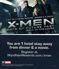 MARVEL WYNDHAM X-MEN DAYS OF THE FUTURE PAST HOTEL CARD BUSINESS CARD SIZE