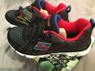 Boys Sketchers Sport Advance Lace Sneakers Size 2 Black Red 82283