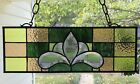 Victorian Style Stained Glass Window Beveled Panel Suncatcher Earth Tones 18x6