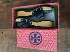 TORY BURCH Size 8 Dixon Navy Patent Leather Logo Slide Sandals NEAR MINT