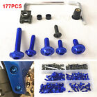 177 Pcs Durable Motorcycle Bodywork Fairing Bolts Kit Fastener Clips Screw Blue