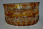 19th Century Antique BOHEMIAN MOSER Cut Glass Crystal Amber Clear 8 Bowl