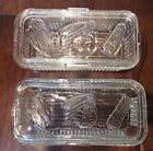 FEDERAL Large Rectangular Glass Refrigerator Dishes with Lids ~ Set of 2
