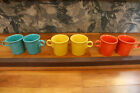 Lot of 6 HLC Fiesta Coffee Mugs Made in USA Ring Handle Blue Yellow