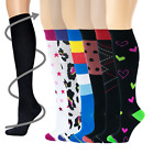6 Pairs Women Different Touch Graduated Compression Knee High Socks 9-11