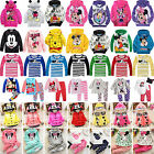 Kids Girls Mickey Minnie Hooded Jumper Sweatshirt T Shirt Top Pajamas Outfit Set