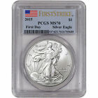2015 American Silver Eagle PCGS MS70 First Strike First Day of Issue Flag Label