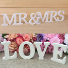 White Wooden Letters Alphabet Wood Word MR & MRS LOVE Wedding Party Home Decor