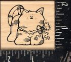 Hooks Lines  Inkers Wood Mounted Rubber Stamp Cat