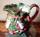 FITZ AND FLOYD~Porcelain Christmas Kris Kringle Toybag~ 2 1/4 Qt Pitcher~EVC