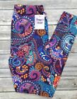 Colorful Paisley Leggings Bright Bold Multi Paisley Floral Print ONE SIZE OS