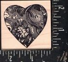 Magenta Wood Mounted Rubber Stamp Heart