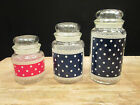 Vintage POLKA DOTS Canister Set 3 Anchor Hocking Fire King Glass Navy Red Jars