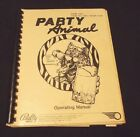 ORIGINAL VINTAGE BALLY/MIDWAY PARTY ANIMAL  PINBALL GAME OPERATING MANUAL, 1987