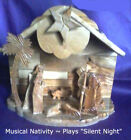 Jerusalem Handmade Olive Wood MUSICAL Nativity 8 x 4 x 7 Plays Silent Night