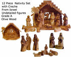Grade A Olive Wood Nativity Set 13 Piece Made in the Holy Land Faceless Figures