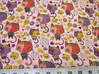 Discount Fabric Quilting Cotton Pink Purple and Yellow Cats and Fish K400