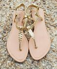 385 fifth flats gold braided thong ankle STRAP size 7 sandals new