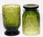 Very Nice Vintage Set (2) Dark GREEN GLASS FOOTED TUMBLERS Embossed Diamond EX!