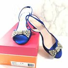 Kate Spade Miva Cobalt Blue Satin Womens High Heels Open Toe Sandals Size 9