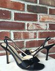 Kate Spade Satin Sling Back Bow Black Heels Sandals  Italy 65 RARE
