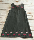 Gymboree Classroom Kitty Girls 5 Gray Pink Corduroy Jumper Dress Bow Embroidered