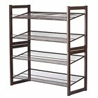 ❤ Floureon 4-Tier Metal Mesh Utility Shoe Rack Storage Organizer 28.9 × 12 × 32.