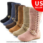 New Toddler Girls Zipper  Lace Faux Suede Slouch Boots Rachel25K Toddler 9 10