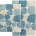 21 x 34 in. And 24 x 40 in. 2-Piece Pebbles Bath Mat Shower Rug Set Aquamarine