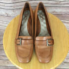 Womens Softwalk Brown Loafers Sz 85 Leather Shoes Eggcrate Footbed Slip ons