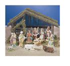 11 PIECE INDOOR NATIVITY SET WITH WOODEN STABLE Made of ceramic material