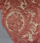 Antique Rose Lyon France Silk Brocatelle Home Dec Fabric Textile c1860