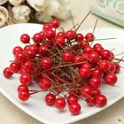100Pcs Mini Berry Manmade Red Holly Berries 10mm Home Bouquet Christmas NEW