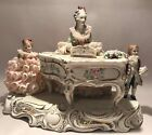 MV Irish Dresden Porcelain Lace Figural Music Hour Piano Children