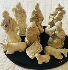 Nativity Set 11 Piece Ivory  Gold Porcelain on Wood Base
