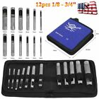 12pc Hollow Hole Metal Leather Punch Set Tool Kit 1 8 3 4 Vinyl Gasket Case AL