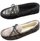 Jockey Womens Cozy Faux Shearling Lined Slip On Moccasin Slippers Black Taupe